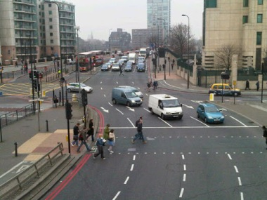 Photo of Vauxhall Cross on lambethcyclists.org.uk
