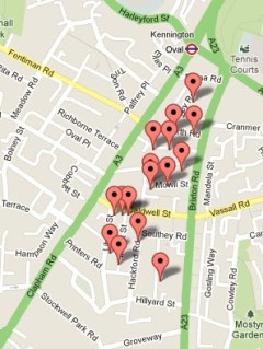 Map of new bike hangars in Lambeth - map from Cyclehoop