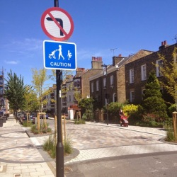 Photo of no left turn sign on Van Gogh Walk, SW9 on lambethcyclists,org,uk