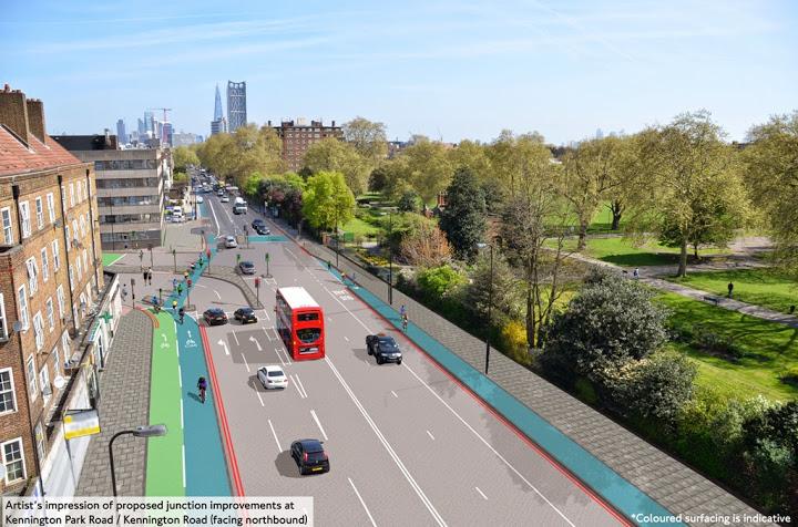 TfL image of Kennington Park Road on lambethcyclists.org.uk