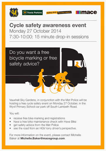 Cycle safety awareness event flyer on lambethcyclists,org,uk