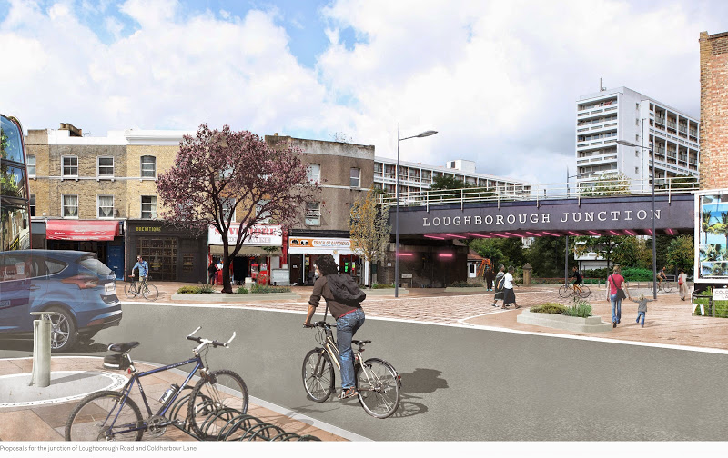 Image of new road layout on Coldharbour Lane / Loughborough Road on lambethcyclists.org.uk