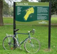 Photo of Ruskin Park sign on lambethcyclists.org.uk