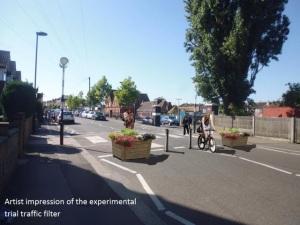 Artists impression of Estreham Road filtering