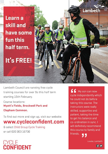 Half term young peoples cycle training flyer on lambethcyclists.org.uk