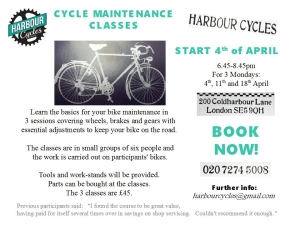 Harbour Cycles cycle maintenance flyer