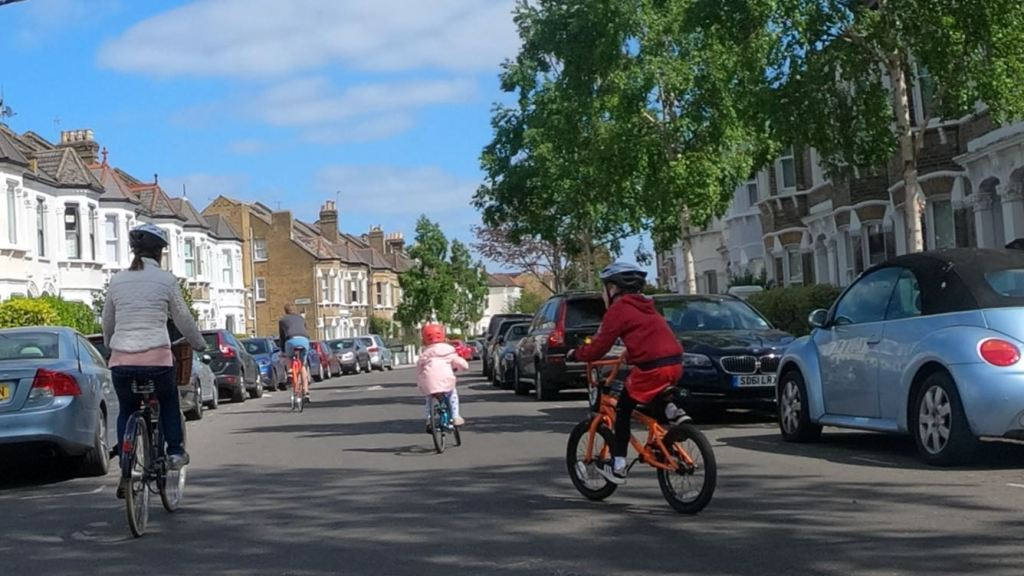 Family cycling Clapham